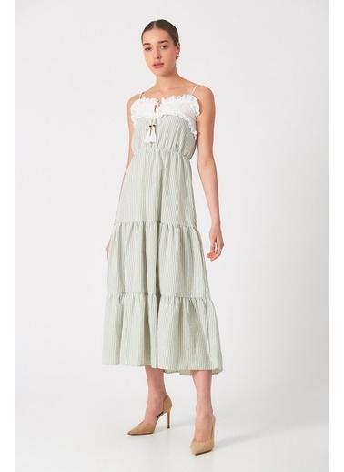 Robin Çizgi Desenli Askılı Elbise Mint Yeşil